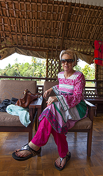 Clair on Kerala houseboat